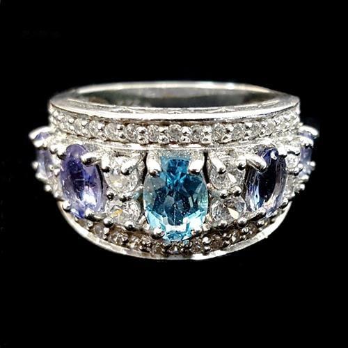 טבעת כסף משובצת טופז כחול ואבני טנזנית RG2039 | תכשיטי כסף 925