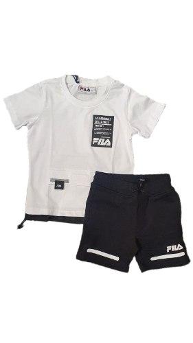 חליפת בנים לבנה לוגו שחור (FILA (2-8