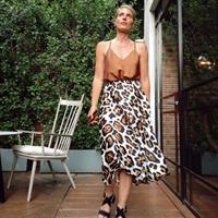חצאית סאטן משי - מנומרת