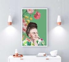 הדפס ציור - פרידה קאלו פרחונית