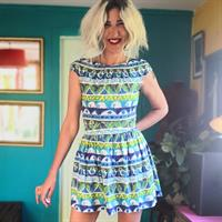 שמלת מיני בהדפס של קיץ מידה S