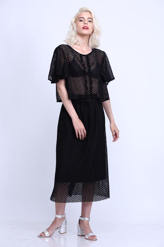 חצאית לייס שחורה