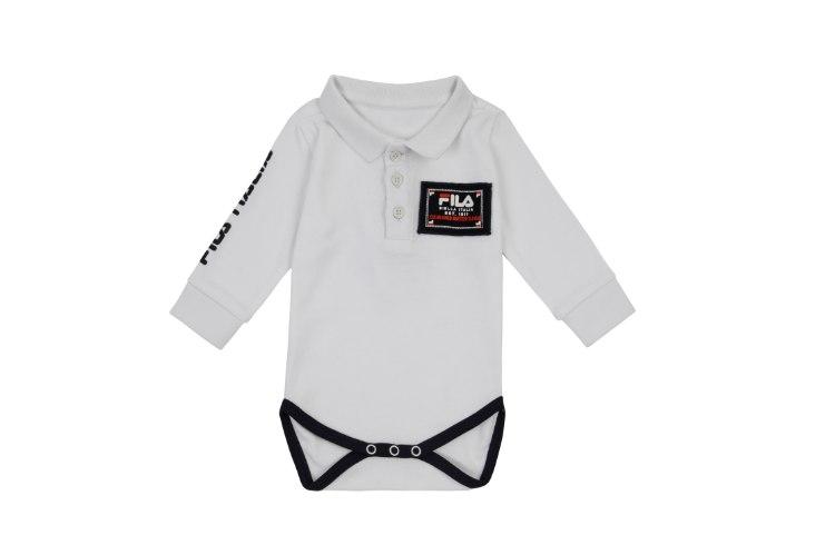בגד גוף פולו לבן FILA תינוקות - מידות NB עד 12 חודשים