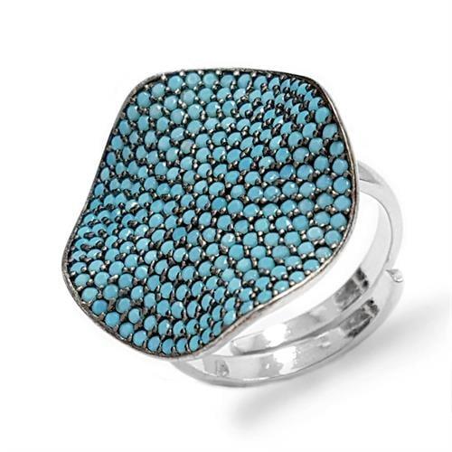 טבעת כסף עגולה משובצת אבני זרקון כחולות RG8365 | תכשיטי כסף 925 | טבעות כסף