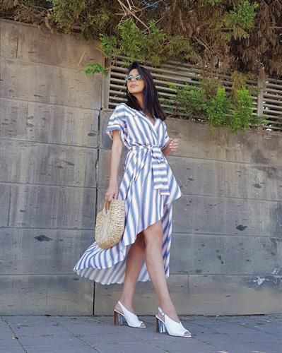 שמלת וולאן פסים - כחול/אדום/לבן