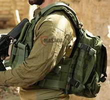 molle plate carrier with a backpack and pouches