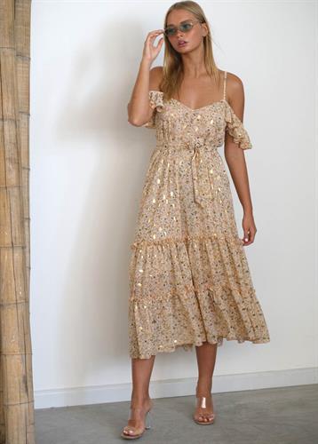 שמלת סלינה בז' מודפס