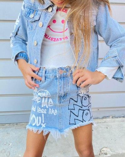 חצאית ג'ינס מיני גרפיטי