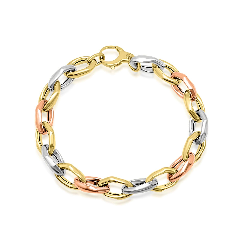צמיד זהב חוליות ב3 צבעים לאישה