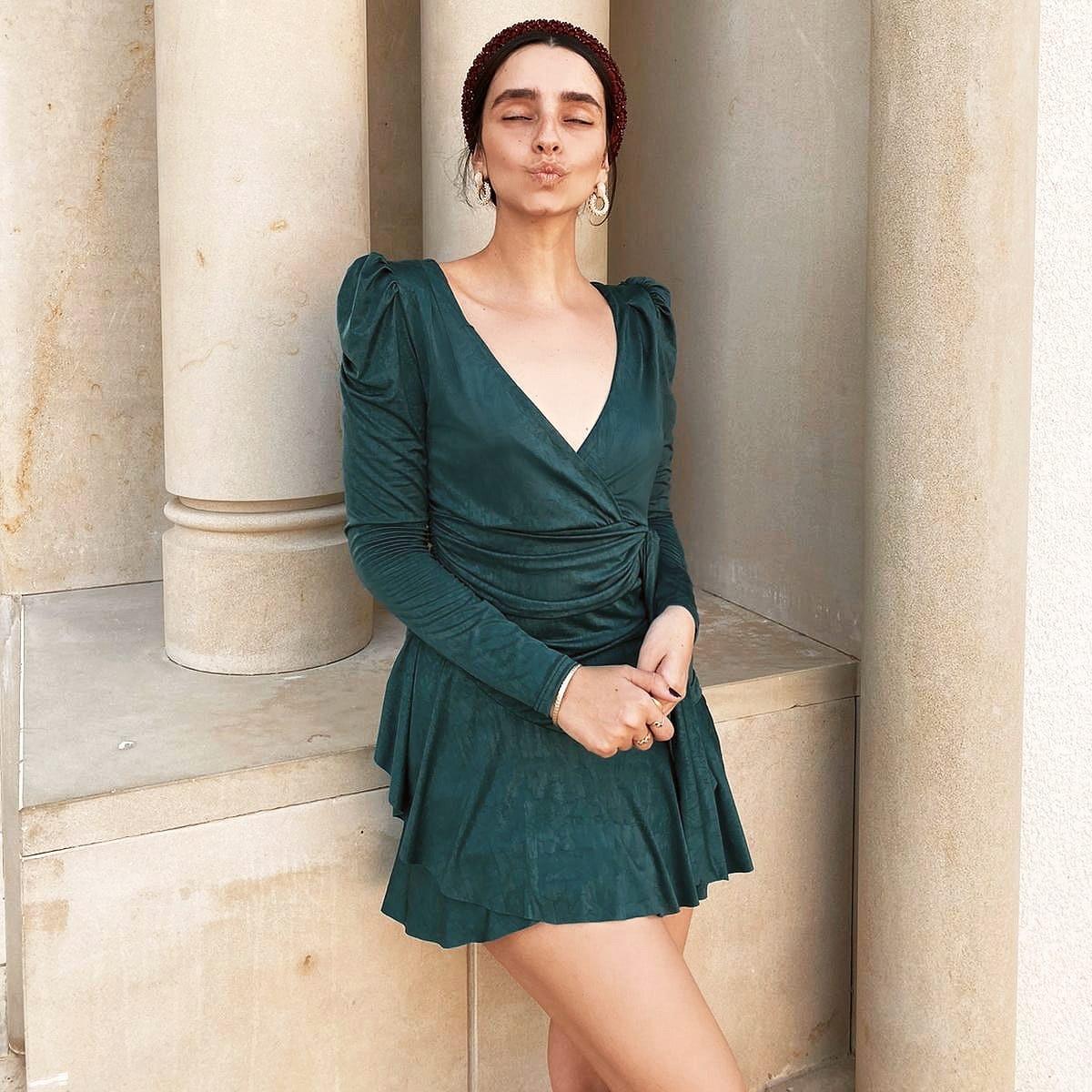 שמלת פאריס מעטפת - ירוק בקבוק