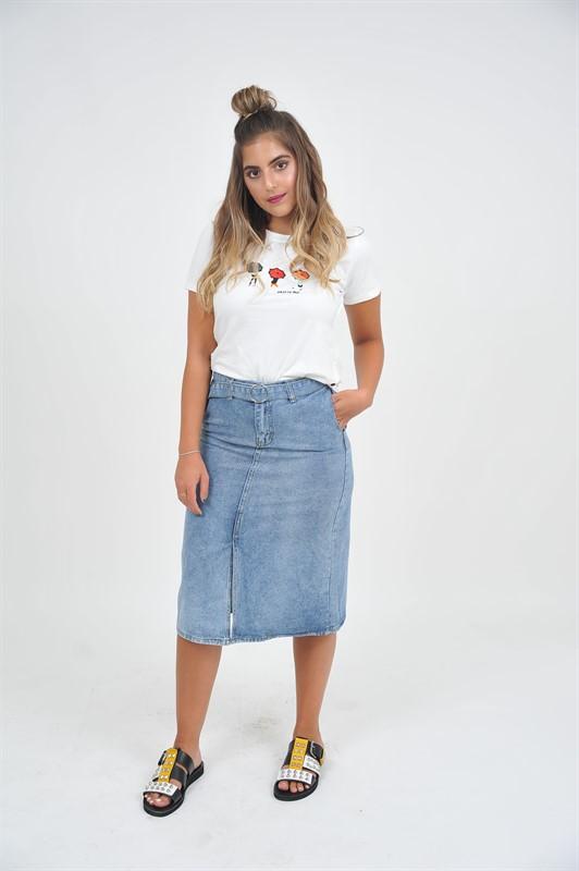 חצאית ג'ינס וחגורה