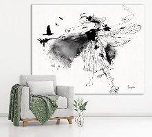 ציור שחור לבן בסלון