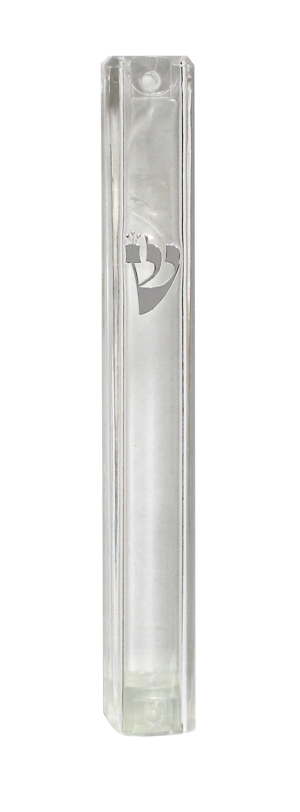 """Plastic mezuzah 20 cm transparent """"ש"""" silver with rubber stopper"""
