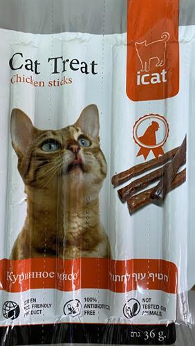 מקלות בטעם עוף לחתול 4 יח' חטיף איי קט
