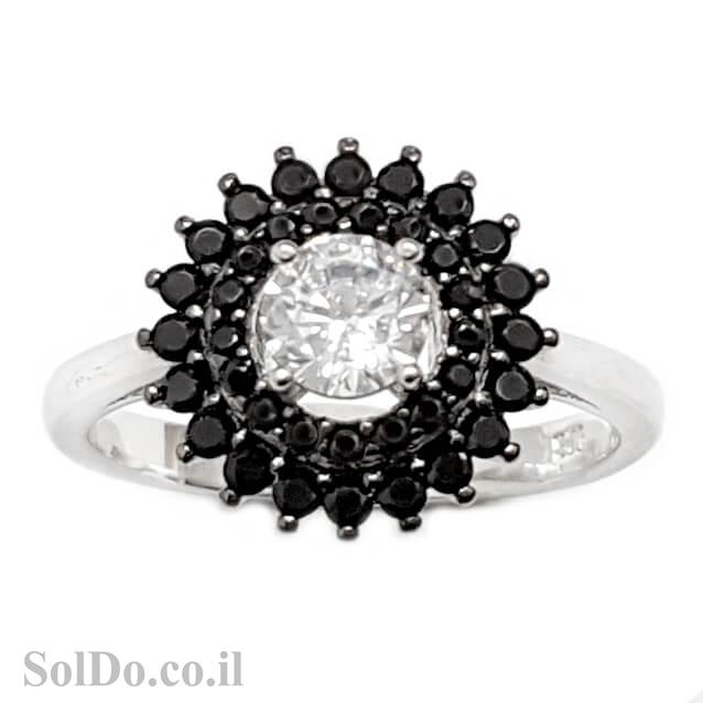 טבעת מכסף משובצת אבן זרקון מרכזית ואבני זרקון שחורות RG6031   תכשיטי כסף   טבעות כסף