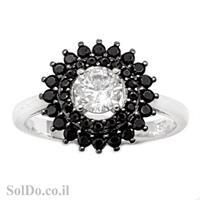 טבעת מכסף משובצת אבן זרקון מרכזית ואבני זרקון שחורות RG6031 | תכשיטי כסף | טבעות כסף