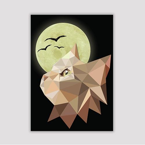 הדפס חתול ירח