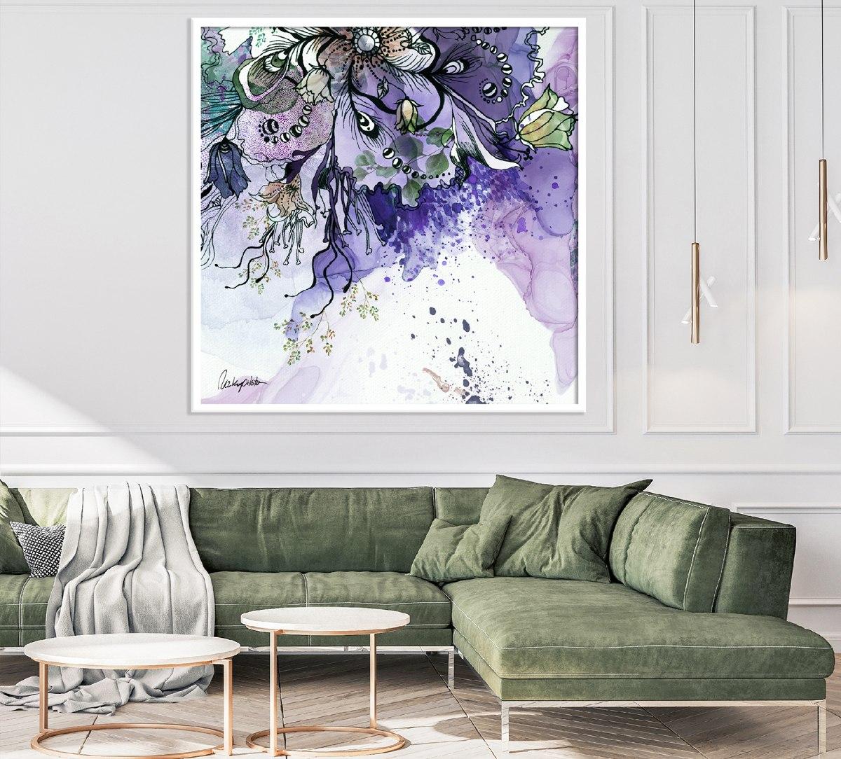 תמונה מעל ספה לסלון, ציור צבעים סגולים