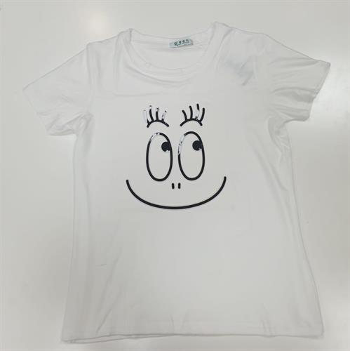 חולצת נשים הדפס הבלטה סמיילי לבן