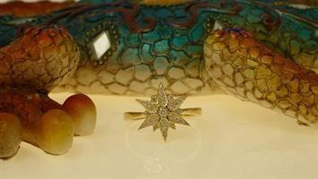 טבעת יהלומים בסגנון כוכב בזהב 14 קרט