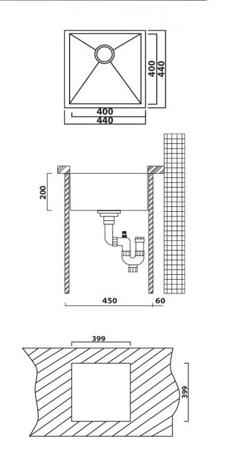 כיור מטבח יחיד תוצרת אולין דגם זירו 44