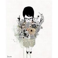 ציור של אישה עם פרחים