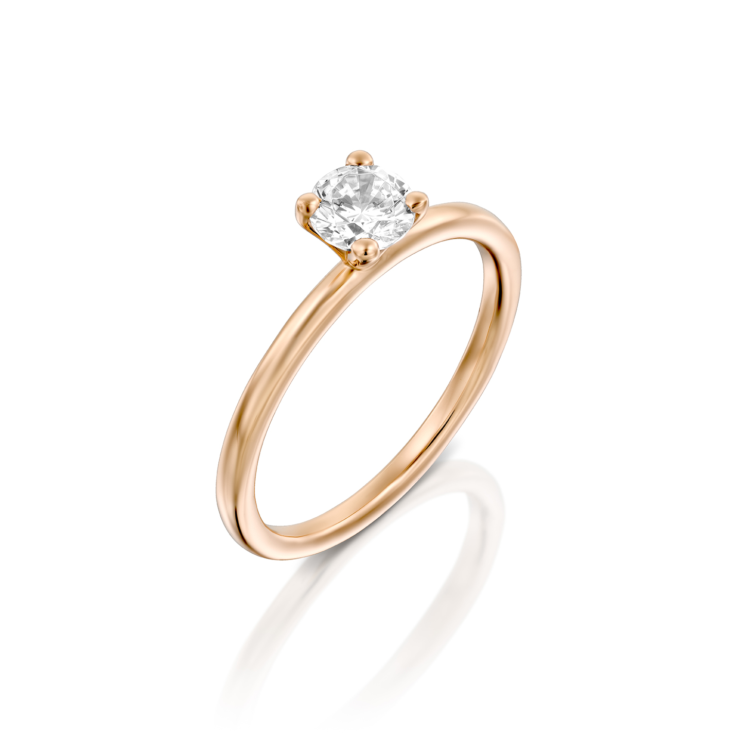 טבעת אירוסין זהב רוז 14 קראט משובצת יהלום מרכזי MARTINI ROSE