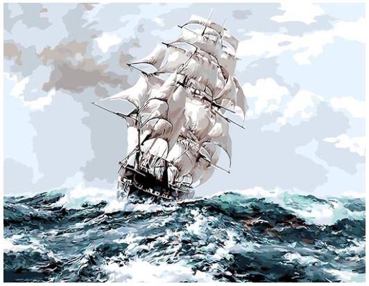 צביעה לפי מספרים - סירת מפרש
