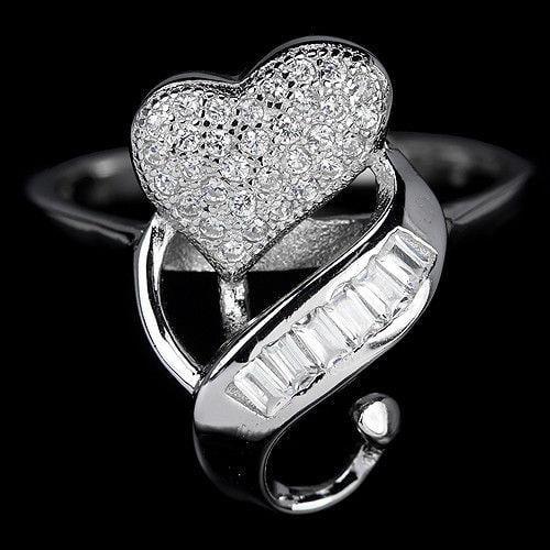 טבעת כסף לב משובצת אבני זרקון RG5577 | תכשיטי כסף | טבעות כסף