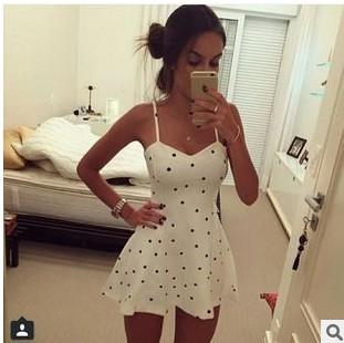 שמלת סלים Polka Dot מיני