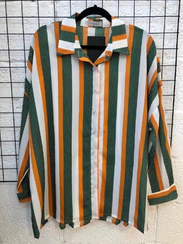 חולצת מיילי פסים ירוק כתום