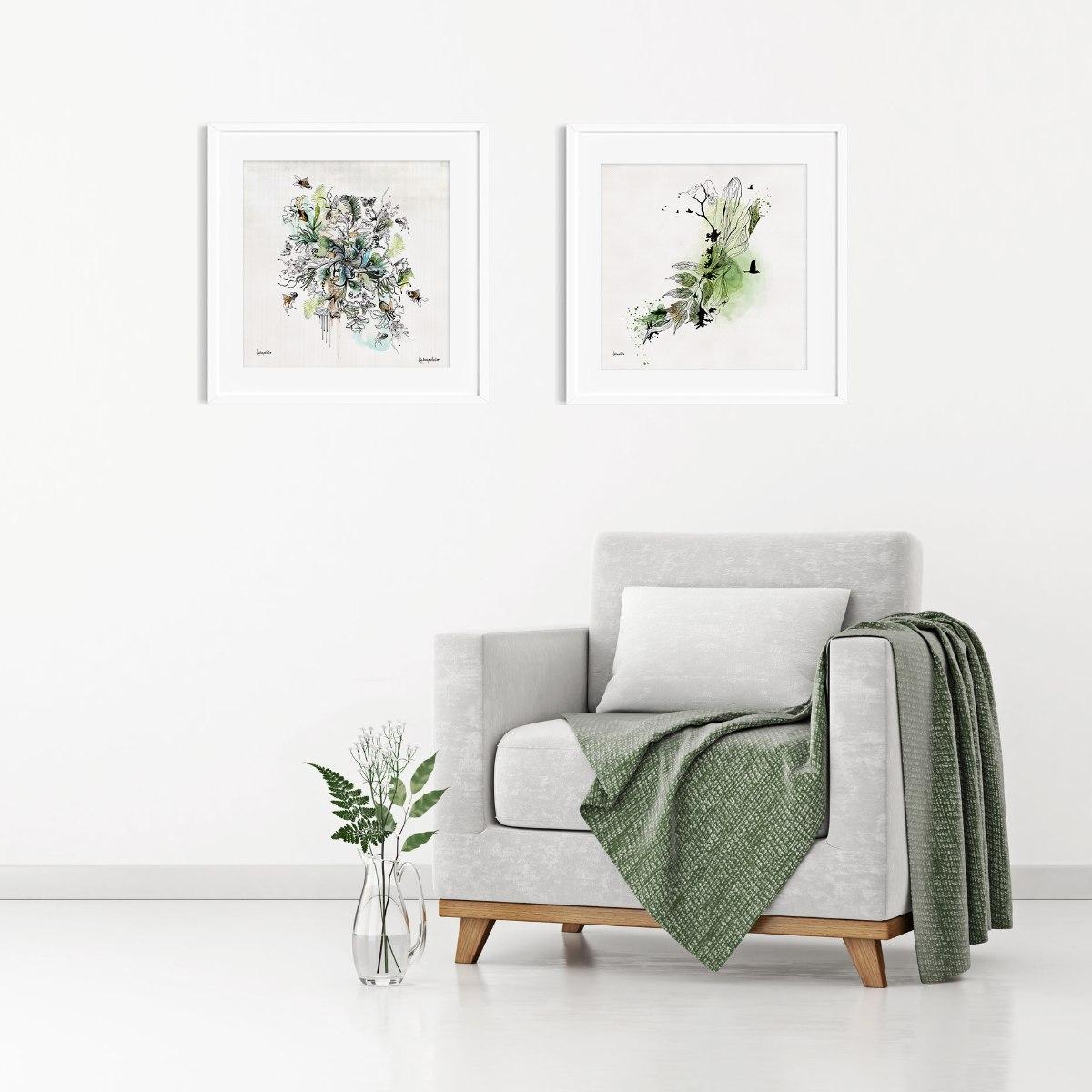תמונות יפות לסלון אבסטרקט ירוק
