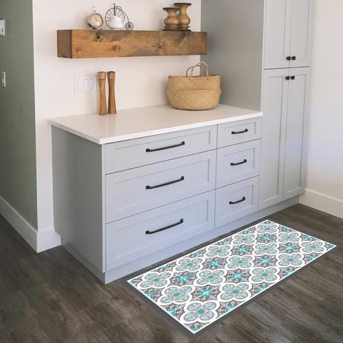 שטיח PVC ויניל לעיצוב הבית - אפור טורקיז