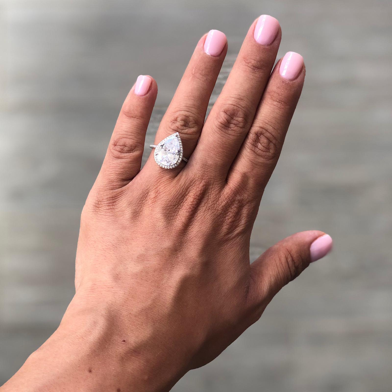 טבעת טיפה גדולה - כסף 925