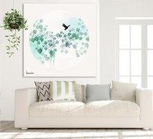 ציור עלים טורקיז צבעי מים לסלון