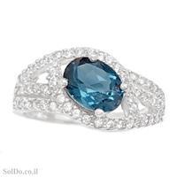טבעת מכסף משובצת אבן טופז כחולה  וזרקונים RG8804 | תכשיטי כסף 925 | טבעות כסף