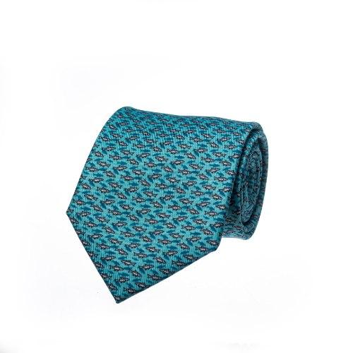 עניבה דגם דגים בגוון מנטה