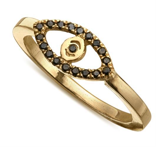 טבעת עין יהלומים שחורים זהב 14K