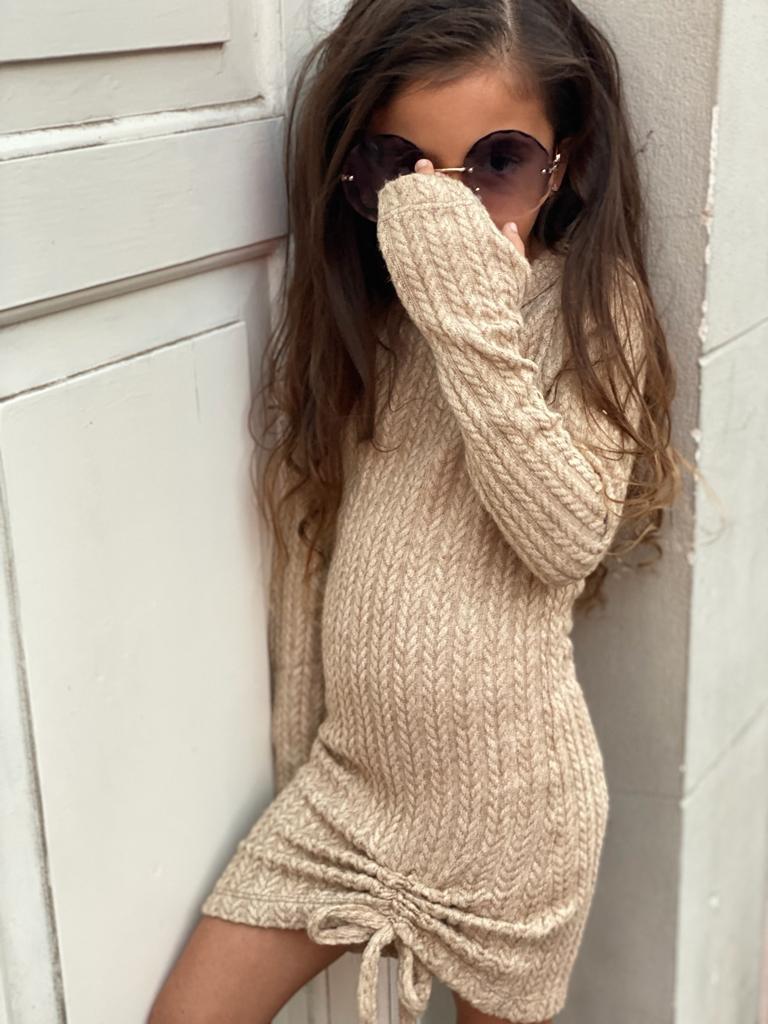 שמלת סריג בז׳ MISS KIDS - מידות 2-16