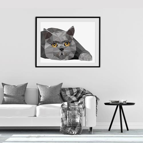 הדפס חתול בריטי אפור