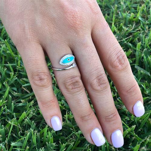 טבעת עין תכלת כסף 925 משובצת זרקון