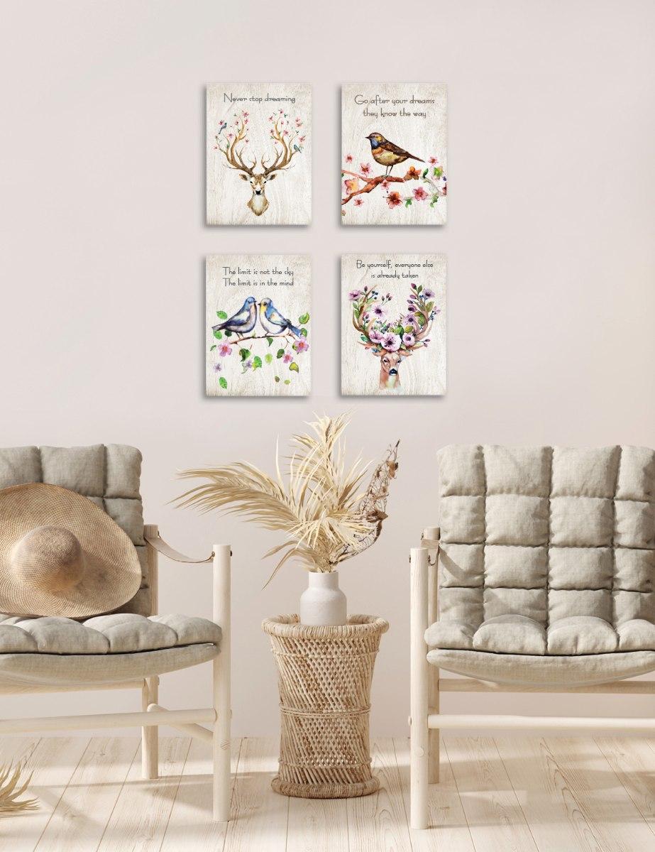 סט של 4 תמונות השראה ציפור, אייל פרחוני, זוג ציפורים ואייל ציפורים דגם 54