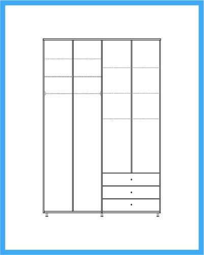 ארון 4 דלתות 3 מגירות דגם שורט