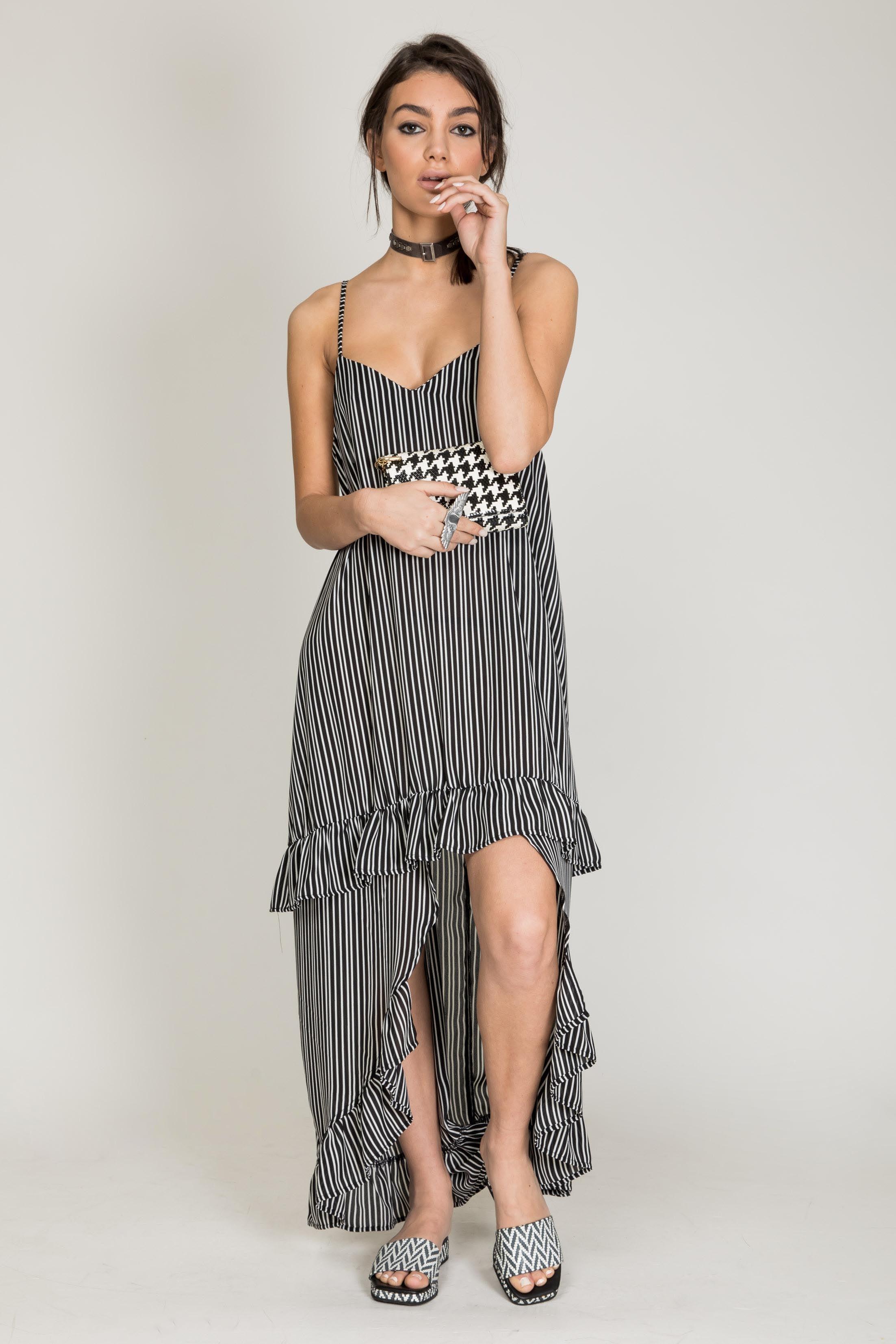 שמלת מנדרין שחור פס דק