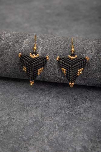 עגילי משולשים שחור/זהב