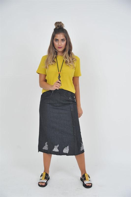חצאית ג'ינס קרעים