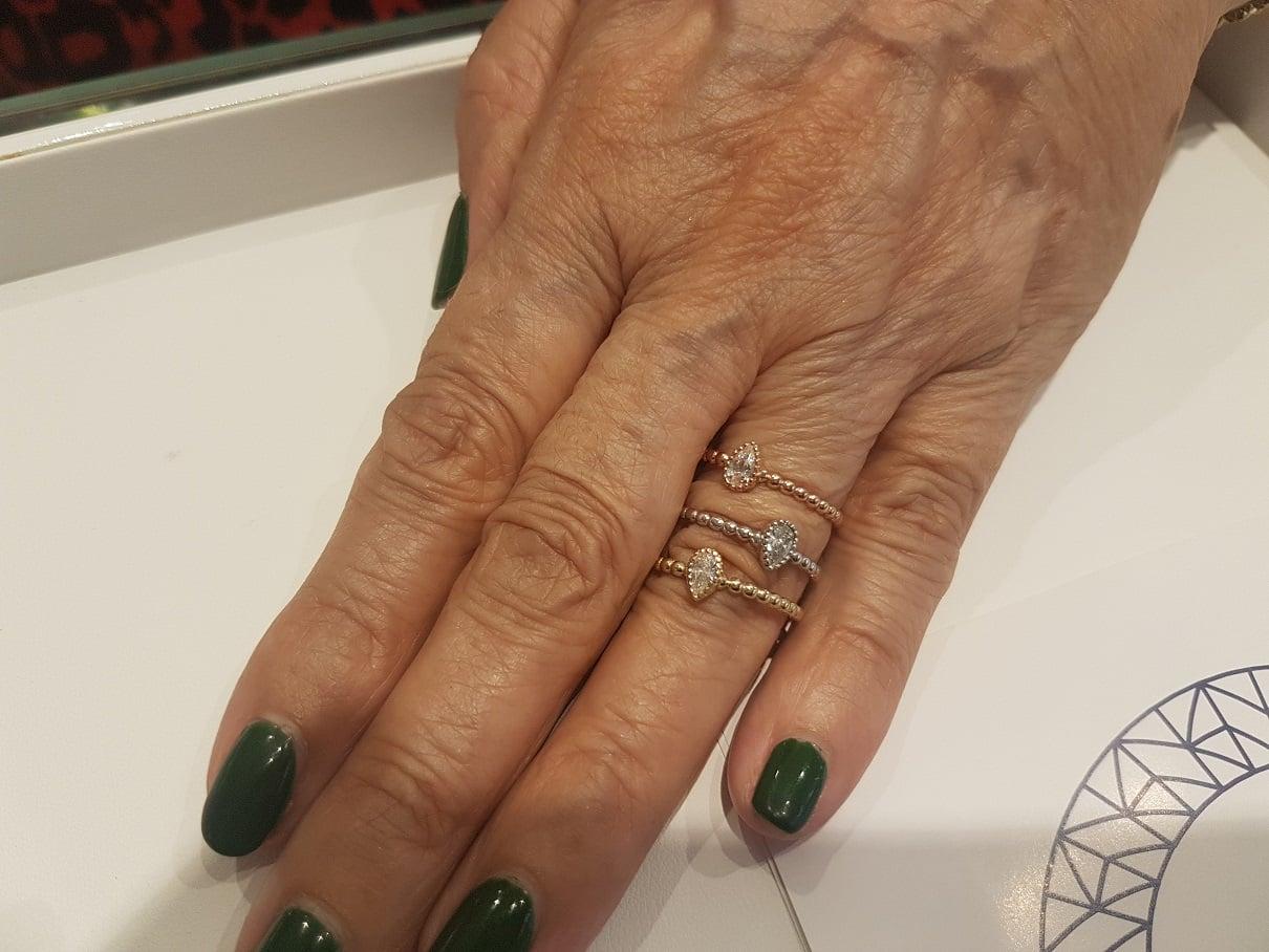 טבעת כדורי זהב וזרקון בחיתוך טיפה טבעת טיפה