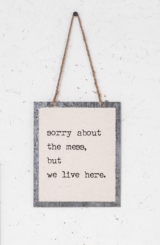 שלט - SORRY ABOUT THE MESS
