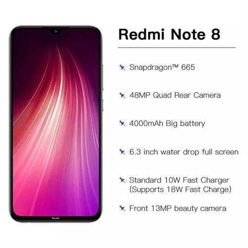 מכשיר טלפון Xiaomi Redmi Note8 עם 5 מצלמות מסך 6.3 אינץ 4GB+128GB