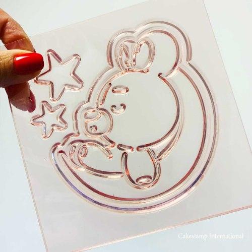 תבנית דובי ישן על ירח דגם 1 | קישוט טופר תינוקות| טופר תינוק חדש ברית| חדש מאתי דבש